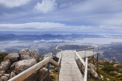 Hobart Mt Wellington Lookout. Tasmania Mt Wellington equipped lookout for tourists to overlook Hobart Derwent River and the city day time Stock Photo