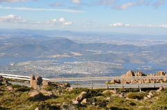Hobart from Mt Wellington walkway. A view over Hobart, Tasmania from Mt Wellington walkway Stock Photos