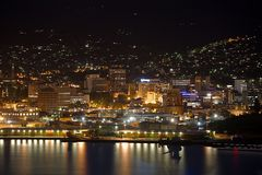 Hobart night view. View of Hobart from across the river royalty free stock photos