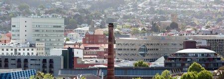 Hobart Panorama. The panoramic view of Hobart downtown (Tasmania Royalty Free Stock Image