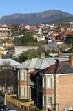Hobart suburb with view to Mount Wellington. Hobart, Tasmania, Australia Royalty Free Stock Photography