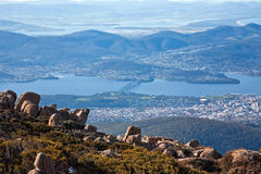 Hobart, Tasmania. View of Hobart city from the top of Mount Wellington, Tasmania stock photos