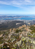 Hobart Tasmania Australia from Mount Wellington. View from the top of Mount Wellington across Hobart Tasmania. Mount Wellington stands at 1269m above the Royalty Free Stock Photography