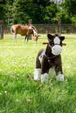 Hobbelpaard en echt paard Royalty-vrije Stock Afbeeldingen