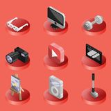 Hobbie color ioutline isometric icons set. And infographics elements Royalty Free Stock Photography