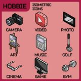 Hobbie color outline isometric icons set. And infographics elements Royalty Free Stock Images