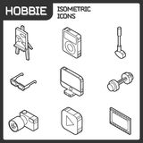 Hobbie outline isometric icons set. And infographics elements Royalty Free Stock Photography
