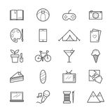 Hobbies and Activities Icons Line Stock Images