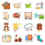 Hobbies icons set. Hobbies flat icons set with sewing origami making and beading isolated vector illustration Stock Photography