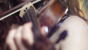 Hobbies and leisure of music player with violin in hands. Close-up stock video footage