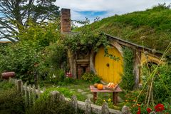 Hobbit house at the movie set of Lord of the rings stock image