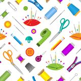 Hobby accessories sewing tools equipment needlework hobby vector illustration seamless pattern background Royalty Free Stock Images