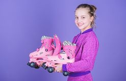 Hobby and active leisure. Happy childhood. Pick proper roller skates size. Why kids love roller skates. Roller skates. Every girl dreaming about. Lets ride stock photography