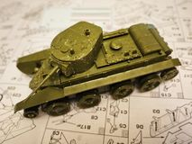 Hobby - Assembly of reduced copies of real battle tanks. Such models are very popular and many fans collect dozens of models at ho. Assembly of reduced copies of royalty free stock photography