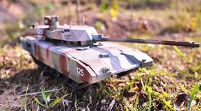 Hobby - Assembly of reduced copies of real battle tanks. Such models are very popular and many fans collect dozens of models at ho. Hobby - Assembly of reduced royalty free stock photography