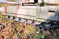 Hobby - Assembly of reduced copies of real battle tanks. Such models are very popular and many fans collect dozens of models at ho. Hobby - Assembly of reduced royalty free stock photo