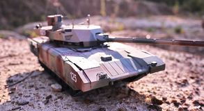 Hobby - Assembly of reduced copies of real battle tanks. Such models are very popular and many fans collect dozens of models at ho. Hobby - Assembly of reduced stock photo