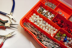 Hobby beads kit and pliers Royalty Free Stock Photography