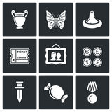 The hobby of collecting icons set. Vector Illustration. Royalty Free Stock Photo