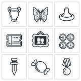 The hobby of collecting icons set. Vector Illustration. Stock Photography