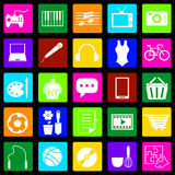 Hobby colorful icons on black background Stock Photo