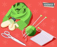 Hobby Crafts Background. Hobby crafts isometric background with knitting tools and handmade scarf and mittens 3d vector illustration royalty free illustration