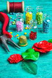 Hobby crafts of beads. Stock Images