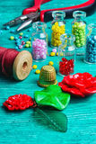 Hobby crafts of beads. Royalty Free Stock Image