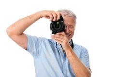 Hobby dell'uomo della macchina fotografica Immagini Stock Libere da Diritti