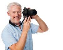 Hobby dell'uomo della macchina fotografica Fotografia Stock