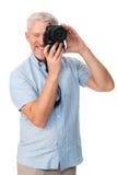Hobby dell'uomo della macchina fotografica Fotografie Stock Libere da Diritti