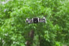 Hobby drone with video camera flying Stock Photos