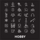Hobby editable line icons vector set on black background. Hobby white outline illustrations, signs, symbols vector illustration