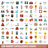 100 hobby excellence icons set, flat style. 100 hobby excellence icons set in flat style for any design vector illustration Stock Photography