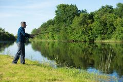 Hobby fisherman is fishing at the river bank. Hobby fisherman with the rod is standing at the bank near calm, small and narrow river. Unfocused green forest at Royalty Free Stock Photos