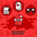 Hobby flat concept icons. Vector illustration, EPS 10 Royalty Free Stock Image