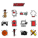 Hobby flat icons set Stock Photography