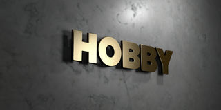 Hobby - Gold sign mounted on glossy marble wall  - 3D rendered royalty free stock illustration Royalty Free Stock Photo
