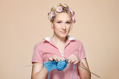 Hobby. Homemaker, knitter. Happy woman with a ball of yarn Stock Photo