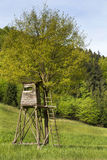 Hobby hunting: animal observation tower in the forest. Stock Photo