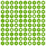 100 hobby icons hexagon green. 100 hobby icons set in green hexagon isolated vector illustration Vector Illustration