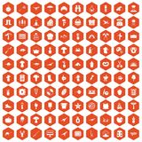 100 hobby icons hexagon orange. 100 hobby icons set in orange hexagon isolated vector illustration royalty free illustration