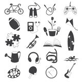 Hobby Icons Isolated on White Background Royalty Free Stock Images