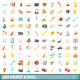 100 hobby icons set, cartoon style Royalty Free Stock Photo