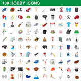 100 hobby icons set, cartoon style. 100 hobby icons set in cartoon style for any design vector illustration royalty free illustration