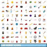 100 hobby icons set, cartoon style. 100 hobby icons set in cartoon style for any design vector illustration Stock Photos