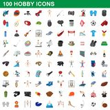 100 hobby icons set, cartoon style. 100 hobby icons set in cartoon style for any design illustration vector illustration