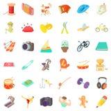 Hobby icons set, cartoon style. Hobby icons set. Cartoon style of 36 hobby vector icons for web isolated on white background Royalty Free Stock Images