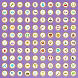 100 hobby icons set in cartoon style. On purple background vector illustration Royalty Free Illustration