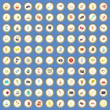 100 hobby icons set cartoon vector. 100 hobby icons circle set on blue background cartoon style vector illustration Vector Illustration